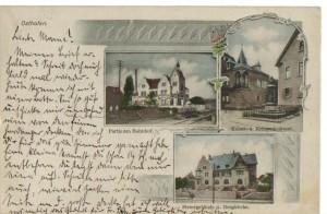 Diverse Ansichten von Osthofen um 1907: Scheuermann-Villa, Kaiser- und Kriegerdenkmal